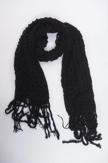 Black scarf knitted with fringes