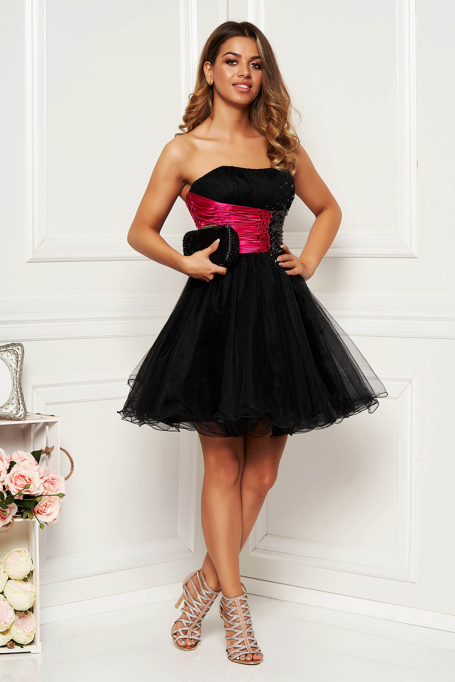 Sherri Hill fuchsia dress luxurious corset with crystal embellished details with push-up cups