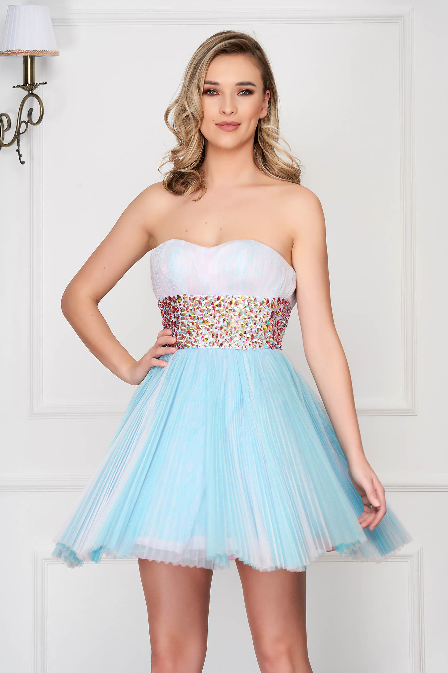 Sherri Hill blue dress luxurious short cut corset