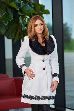 Palton LaDonna Bloomy Colar White