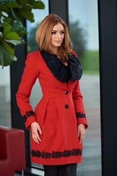 Palton LaDonna Bloomy Colar Red