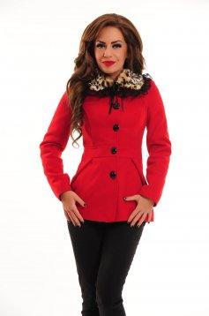 LaDonna Leo Collar Red Coat