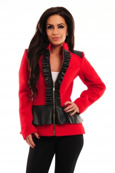 LaDonna Frilly Zipper Red Coat