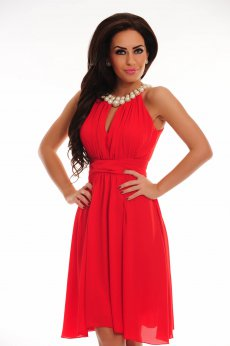 Rochie LaDonna Flaming Pearls Red