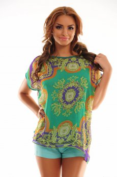Graphic Mirage Green Blouse