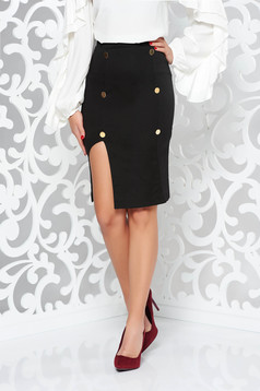PrettyGirl black skirt office with inside lining pencil high waisted