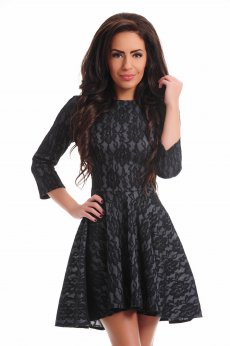 Artista Lacy Overlay Black Dress