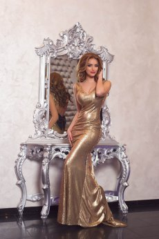 Rochie LaDonna Caressing Shine Gold