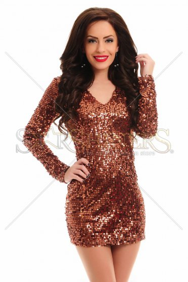 Rochie De Revelion PrettyGirl Glowing Brown