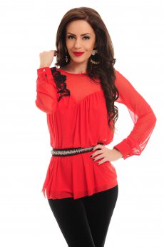 Artista Floral Thrill Red Blouse