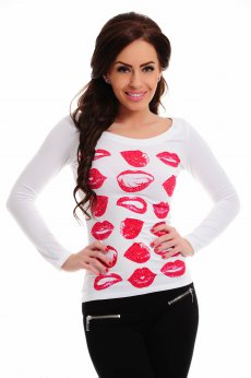 Bluza Mexton Awesome Kisses White
