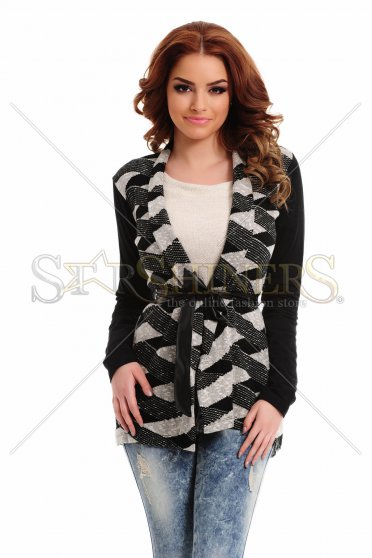 Cardigan Mexton Twisted Lines Black