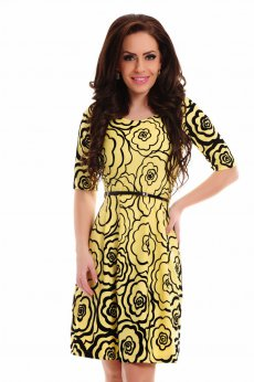 Rochie LaDonna Divine Drawing Yellow