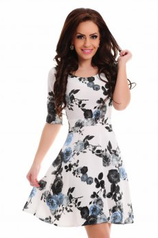LaDonna Floral Bouquet Blue Dress