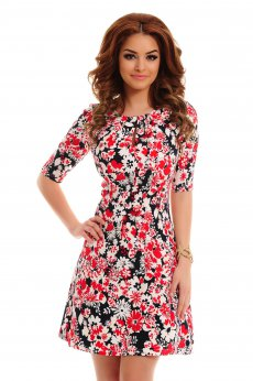 Artista Crowded Flowers Red Dress