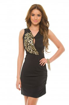 Missq Shiny Chest Black Dress
