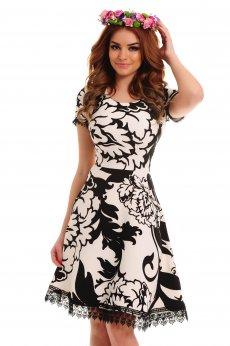 Rochie LaDonna Graphic Flowers Black