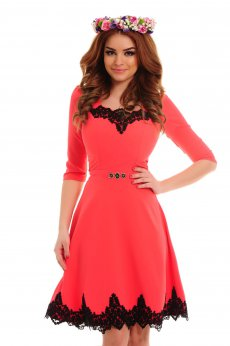 Rochie LaDonna Lovely Embroidery Coral