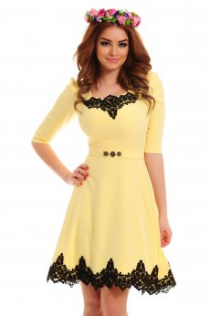 LaDonna Lovely Embroidery Yellow Dress