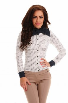 Camasa Fofy Casual Dots White