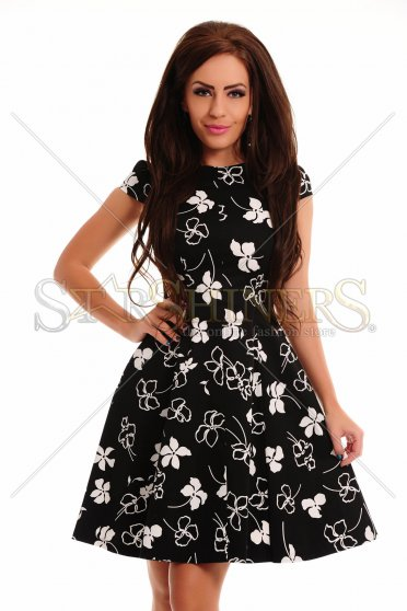 Rochie Holly Flowers Black