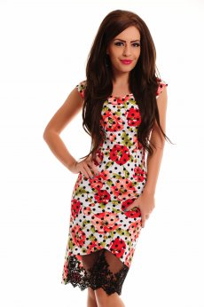 Rochie LaDonna Flowered Dots White