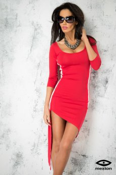 Mexton Asymetrical Cut Red Dress