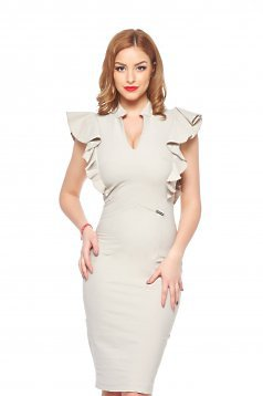 PrettyGirl Wavy Cream Dress