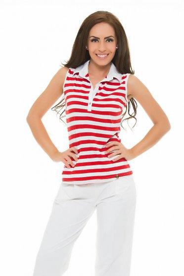 PrettyGirl Simple Lines Red Top Shirt