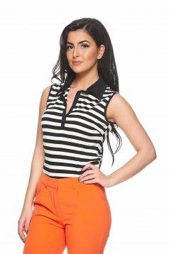 PrettyGirl Simple Lines Black Top Shirt