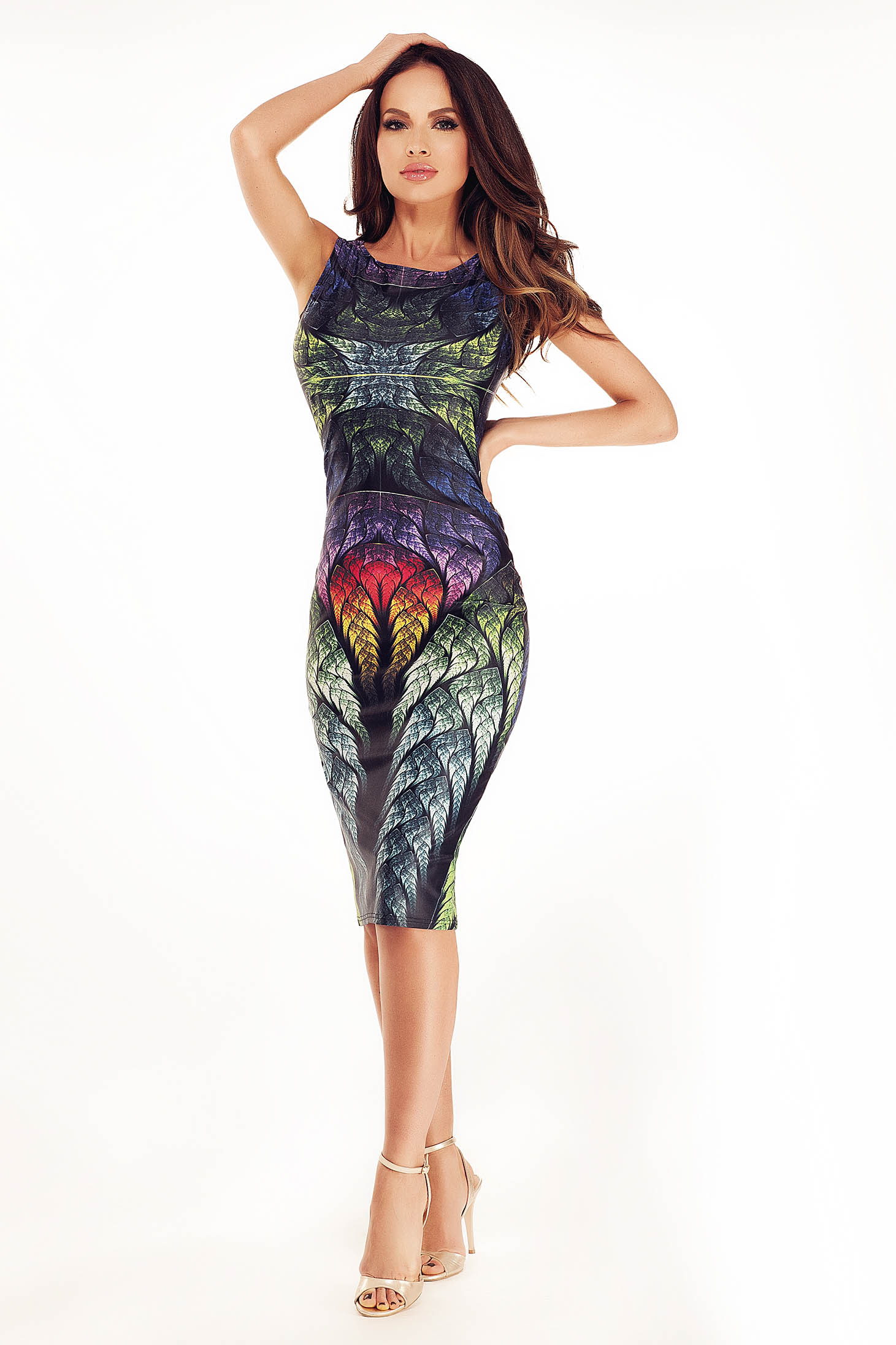 Rochie Ana Radu Cheerful Figures DarkGreen