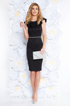StarShinerS black elegant pencil dress with cut back cloth from elastic fabric