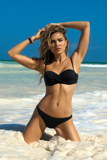 Black swimsuit with push-up bra with classical slip adjustable straps with balconette bra