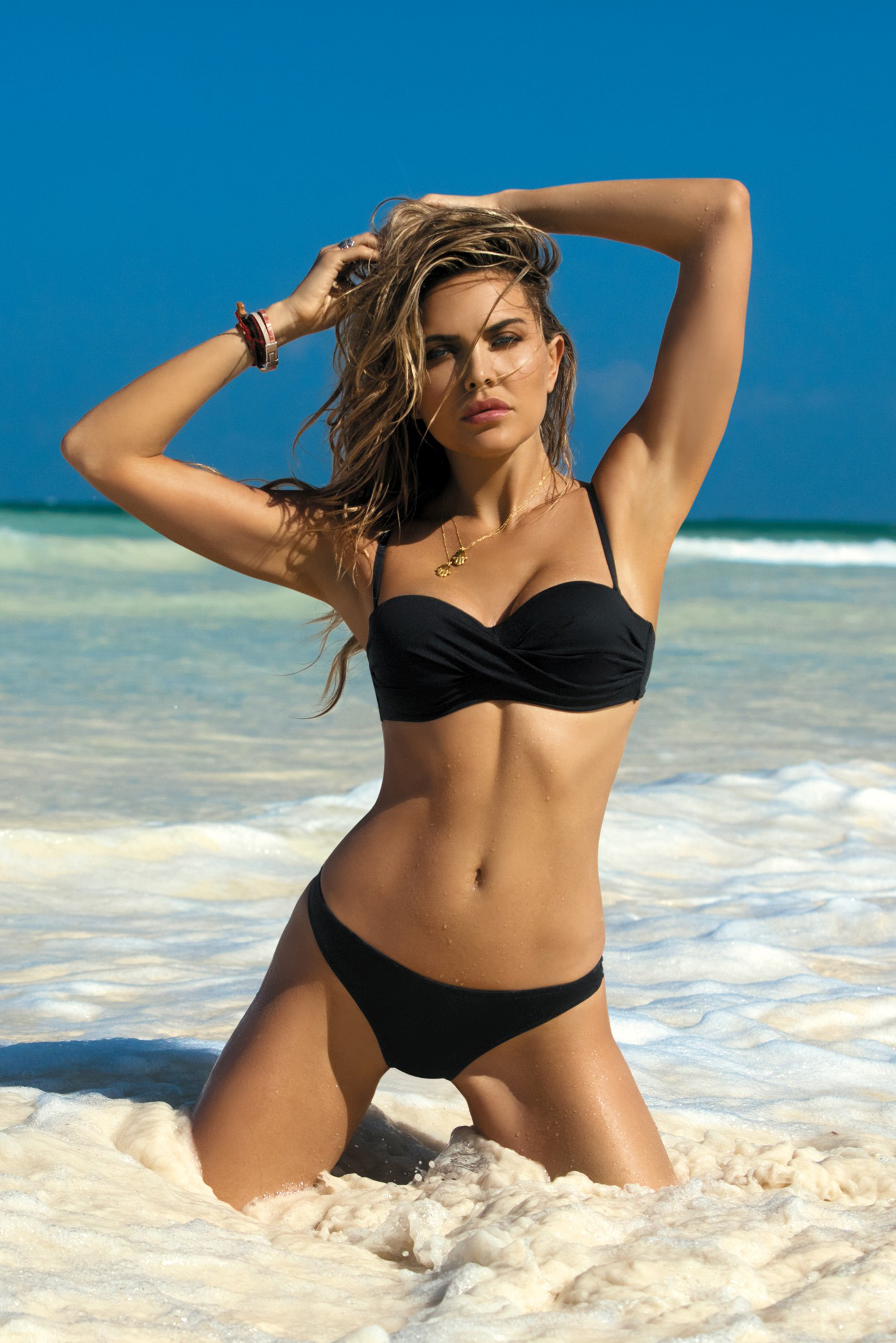 up Black bra push bikini