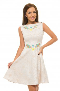 StarShinerS Embroidered Reflection Cream Dress