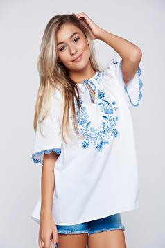 Blue easy cut cotton embroidered women`s blouse
