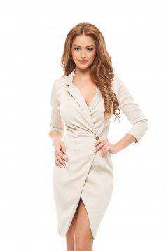 PrettyGirl Straight Cream Dress