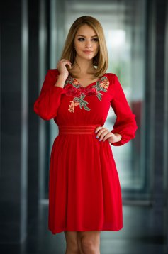 Rochie LaDonna Flowered Chest Red