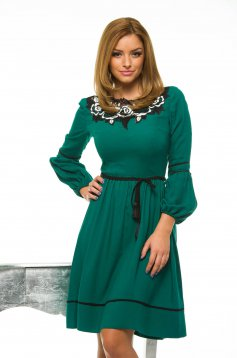 Rochie LaDonna Cleavage Roses Green