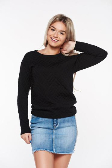 Top Secret black casual sweater slightly elastic fabric with easy cut