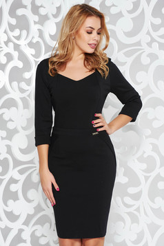 PrettyGirl black office pencil dress with v-neckline