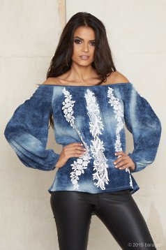 Mexton Beautiful Embroidery Blue Blouse