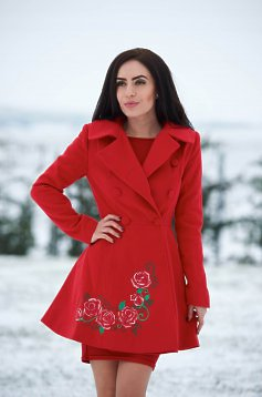 StarShinerS Rose Desire Red Embroidered Coat