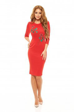 StarShinerS Embroidered Rose Eternity Red Dress