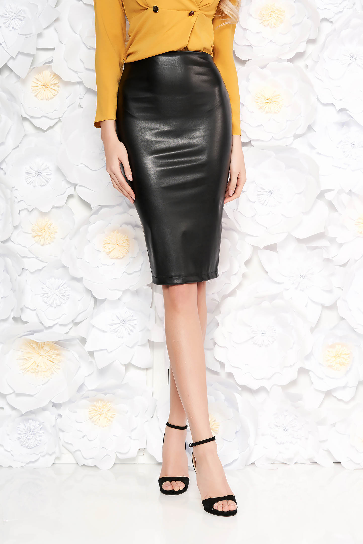 StarShinerS black pencil skirt from ecological leather