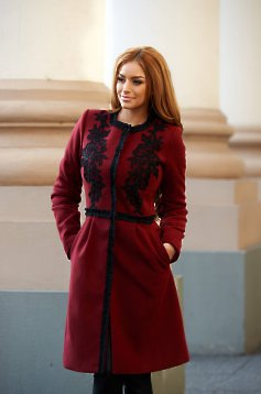 Palton LaDonna Embroidered Fall Burgundy
