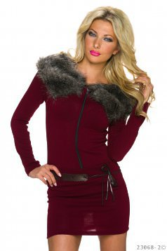 Rochie Enchanted Fur Burgundy