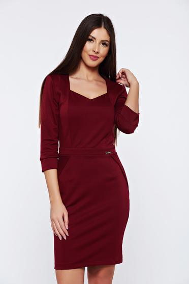 PrettyGirl burgundy office pencil dress with v-neckline
