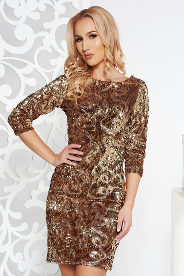 StarShinerS occasional pencil gold dress with sequins with inside lining