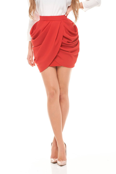 Ana Radu red elegant short skirt pleats of material